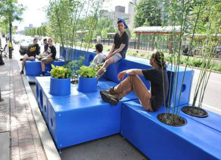 Image for residents enjoying completed parklet in boston