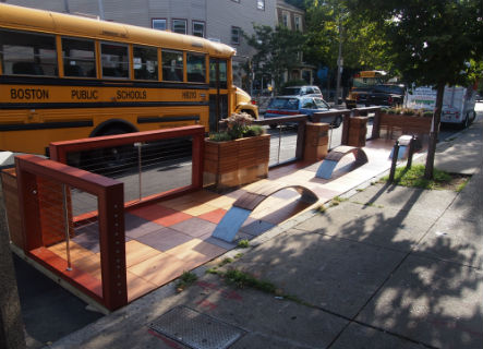 Image for a completed parklet in jamaica plain