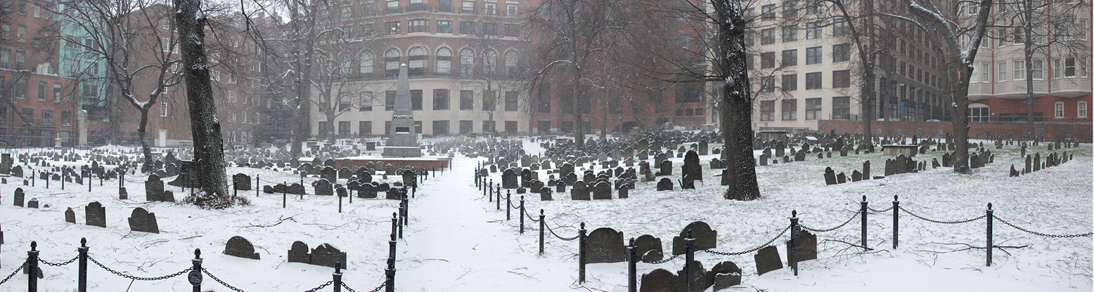 Image for the granary burying ground snow