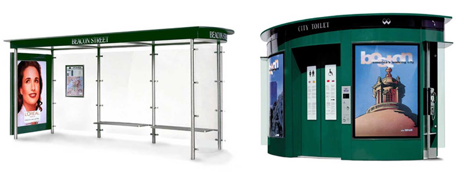 Image for a bus shelter and a public toilet
