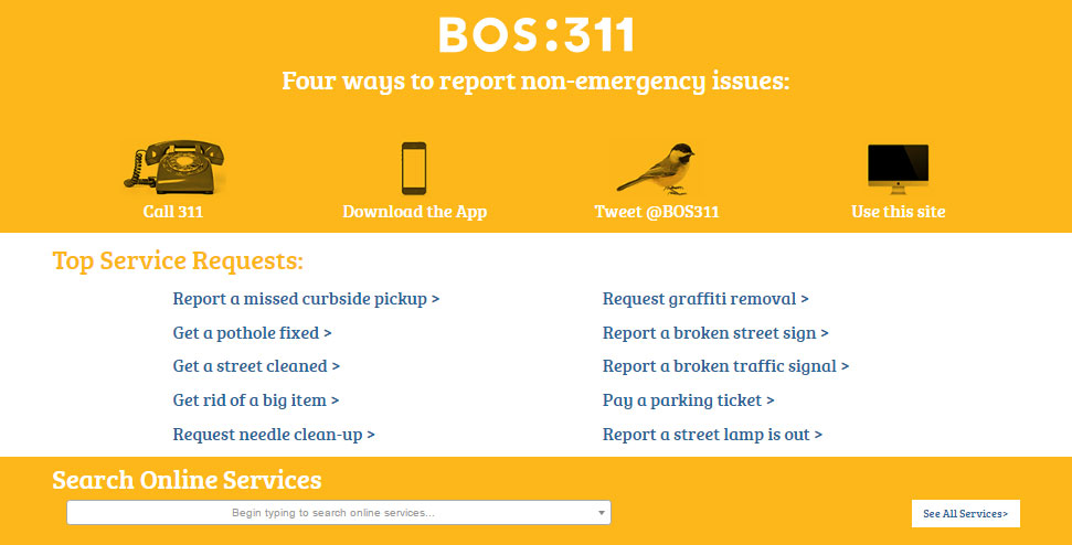 Image for a view of the bos:311 website
