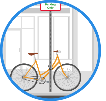 Image for boston by bike bike parking sign post
