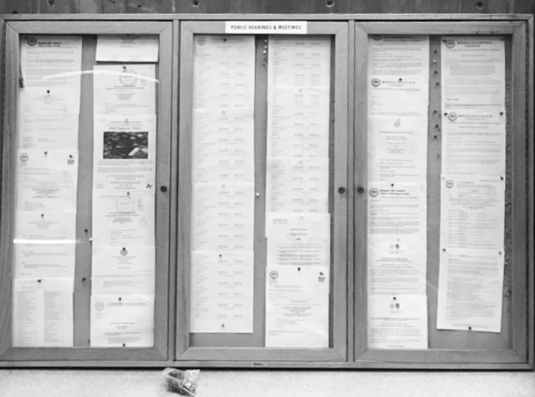 Image for a photo of the public notice corkboard at boston city hall