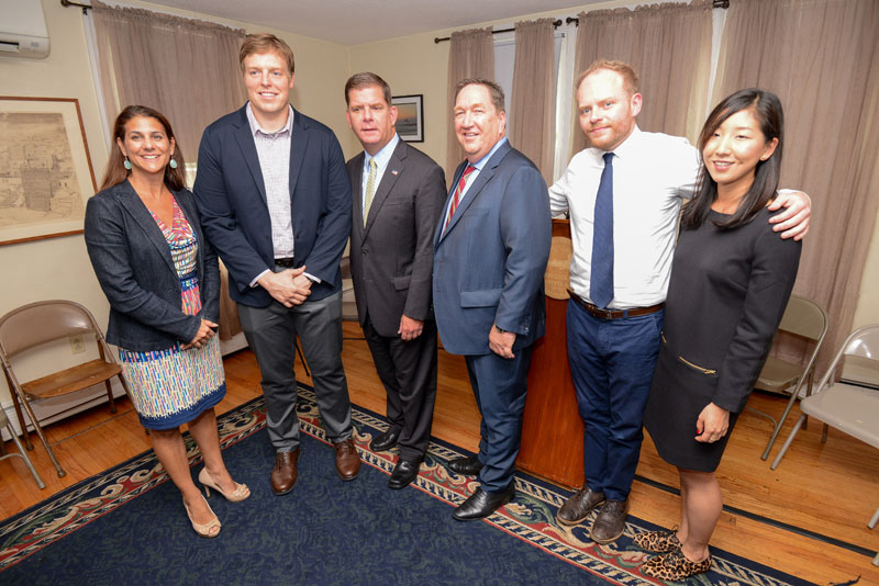 Image for mayor walsh announced the pair initiative at an event with other local officials