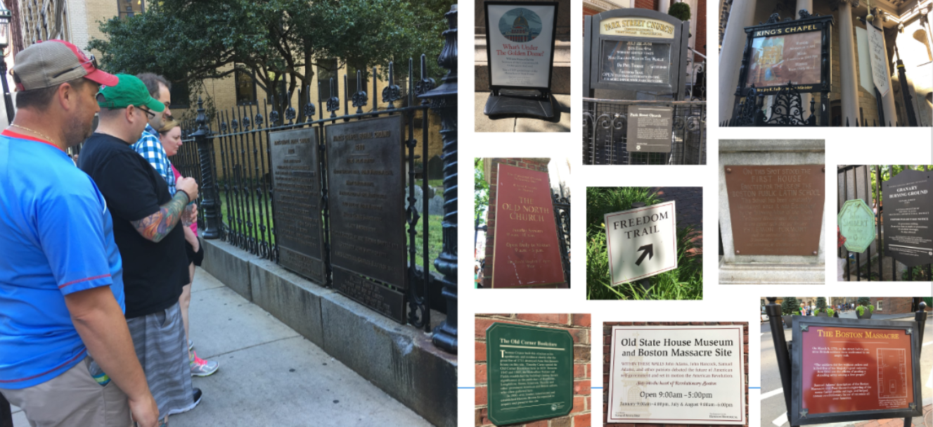 Image for examples of current freedom trail signs, some of which are dark and hard to read