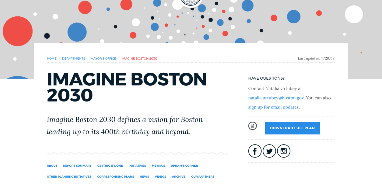 Image for the top of the new imagine boston 2030 website