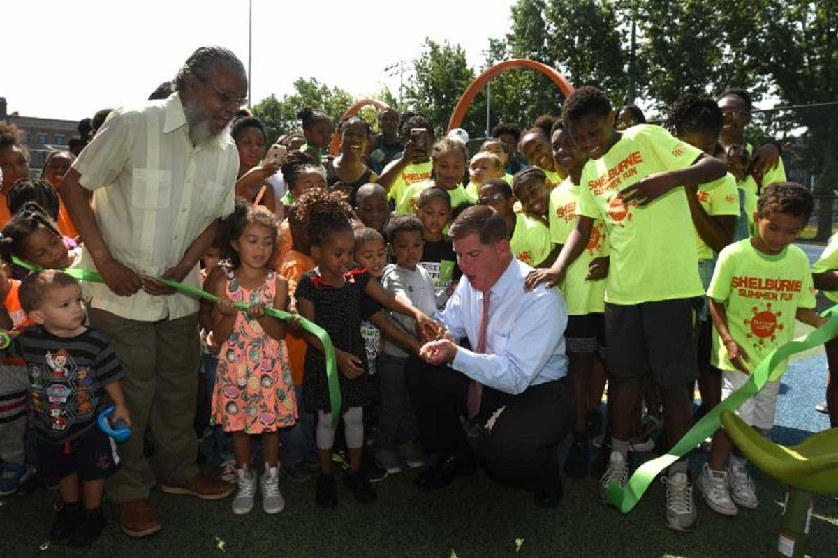 Image for mayor walsh celebrates the reopening in the south end with local children