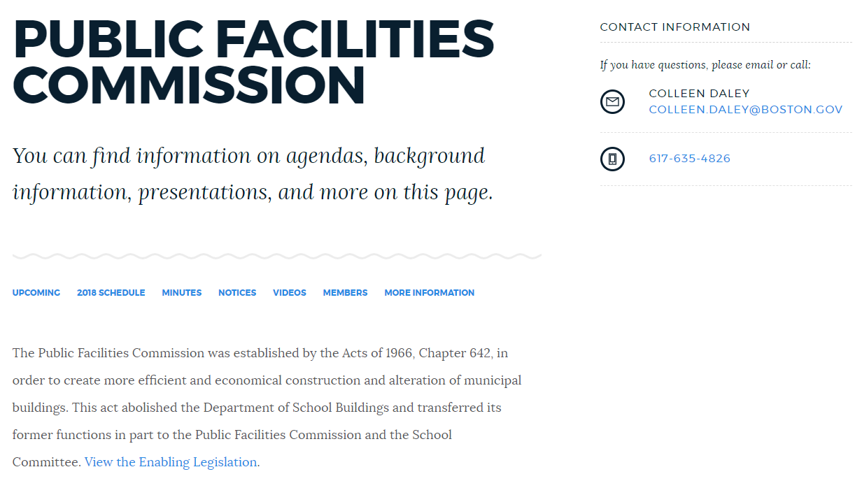 Image for public facilities commission screenshot