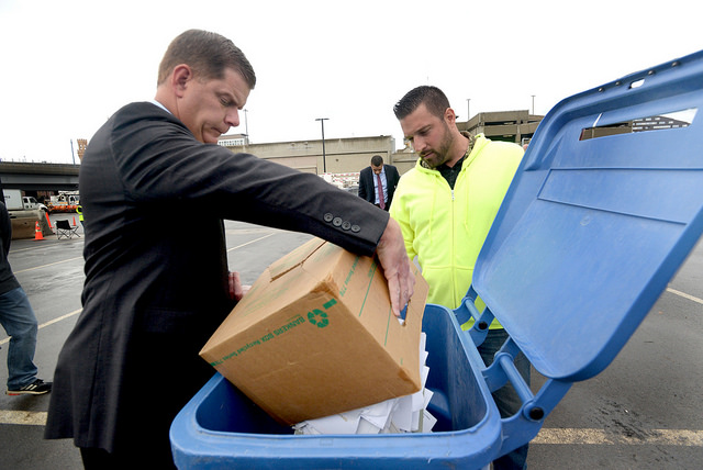Image for mayor walsh recycles