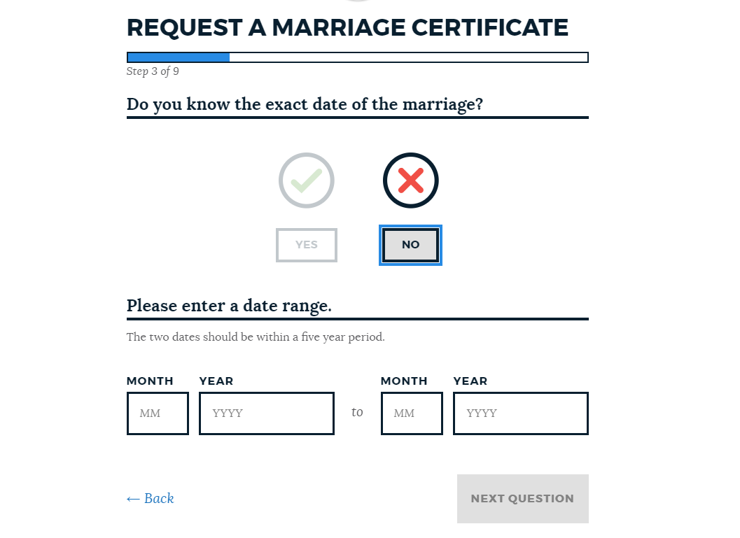 Image for a screenshot of our marriage certificates application