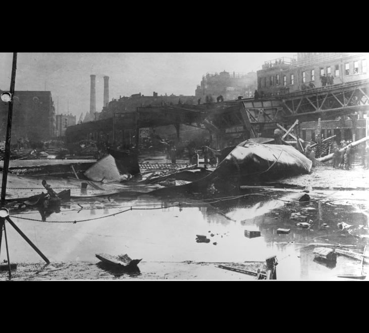 Image for molasses flood destruction, 1919 (ber photograph collection, 9800 018, boston city archives)