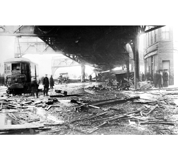 Image for molasses flood destruction and cleanup, january 20, 1919 (ber photograph collection, 9800 018, boston city archives)
