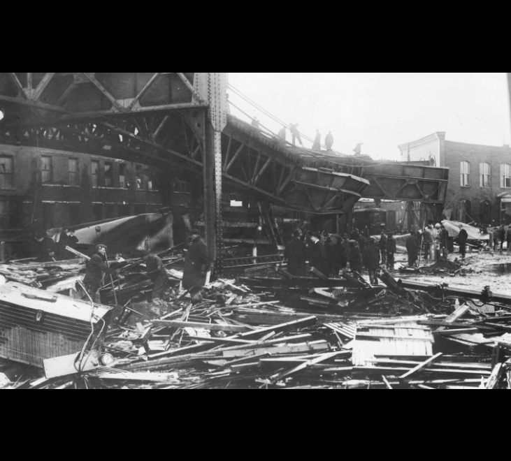 Image for molasses flood destruction and cleanup, 1919 (ber photograph collection, 9800 018, boston city archives)