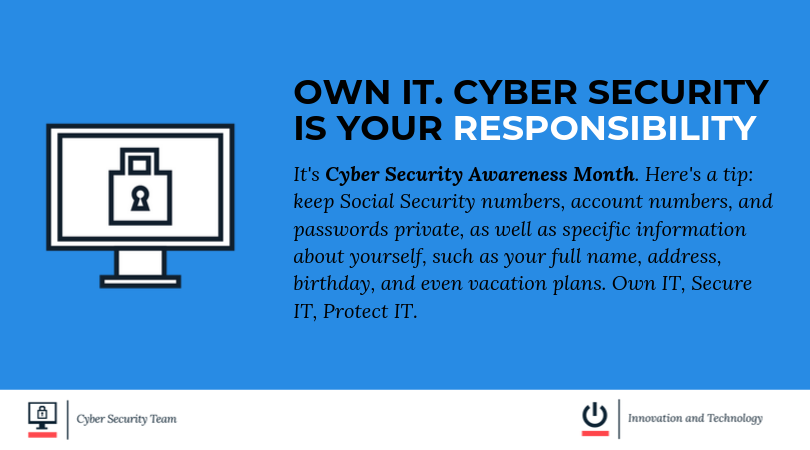 Image for own it cyber security is your responsibility