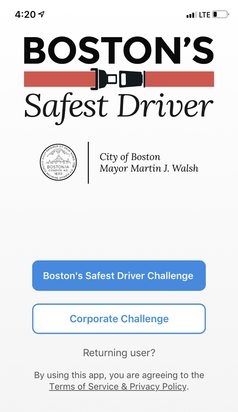 Image for a screenshot of the safest driver app
