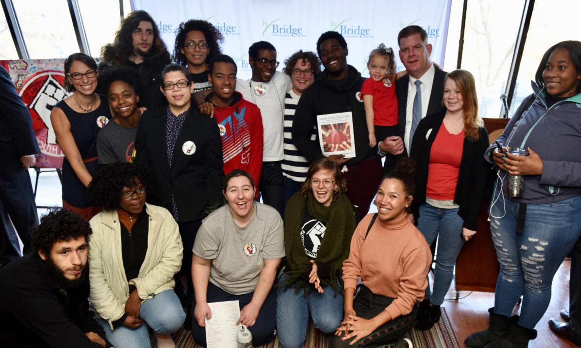 Image for mayor walsh with constituents at a press conference