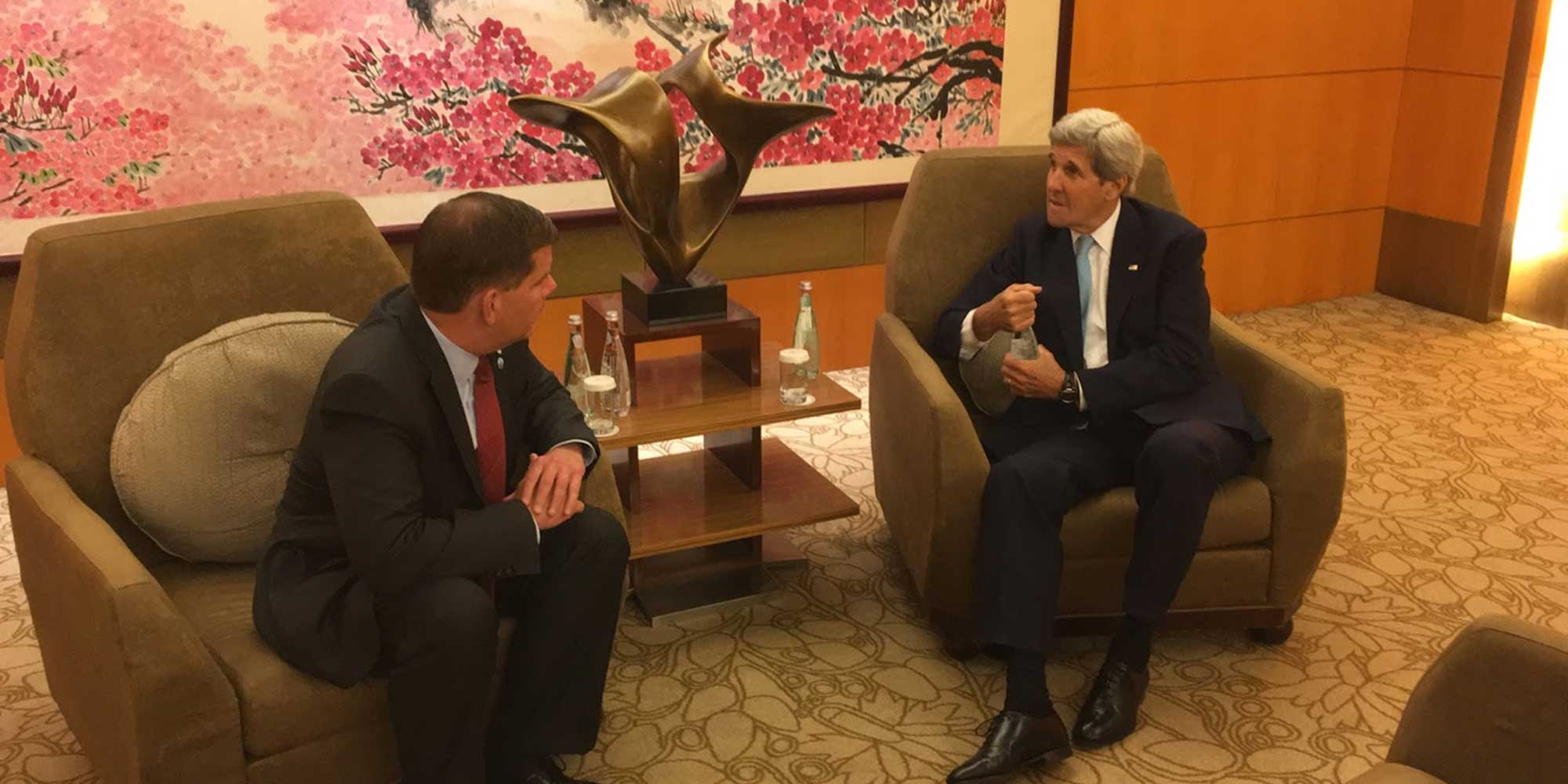 Image for mayor walsh with john kerry, former secretary of state and u s senator