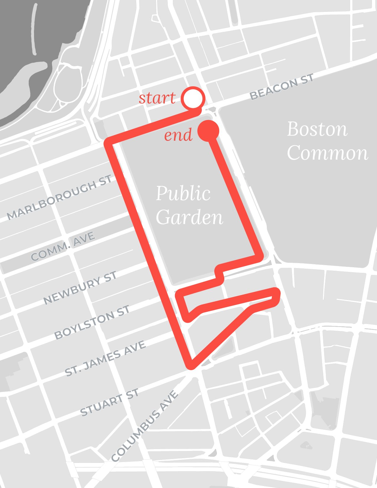 Back Bay walk route map