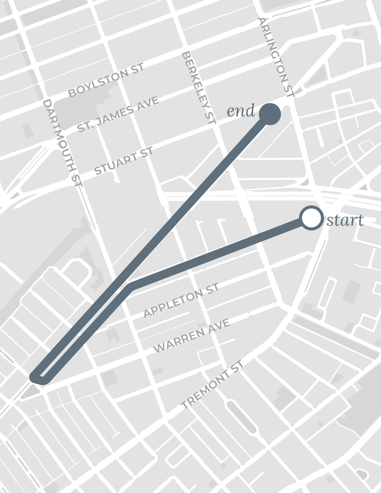 South End walk route map