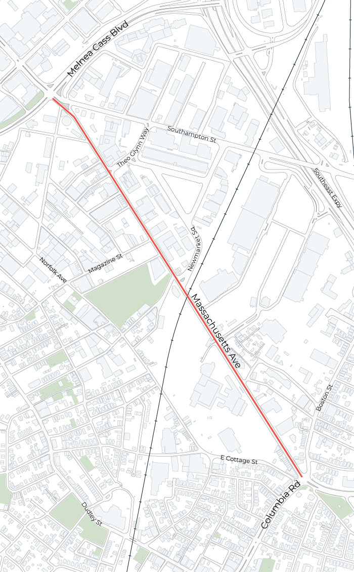 Map showing the project's area (Mass Ave between Melnea Cass and Columbia Rd)