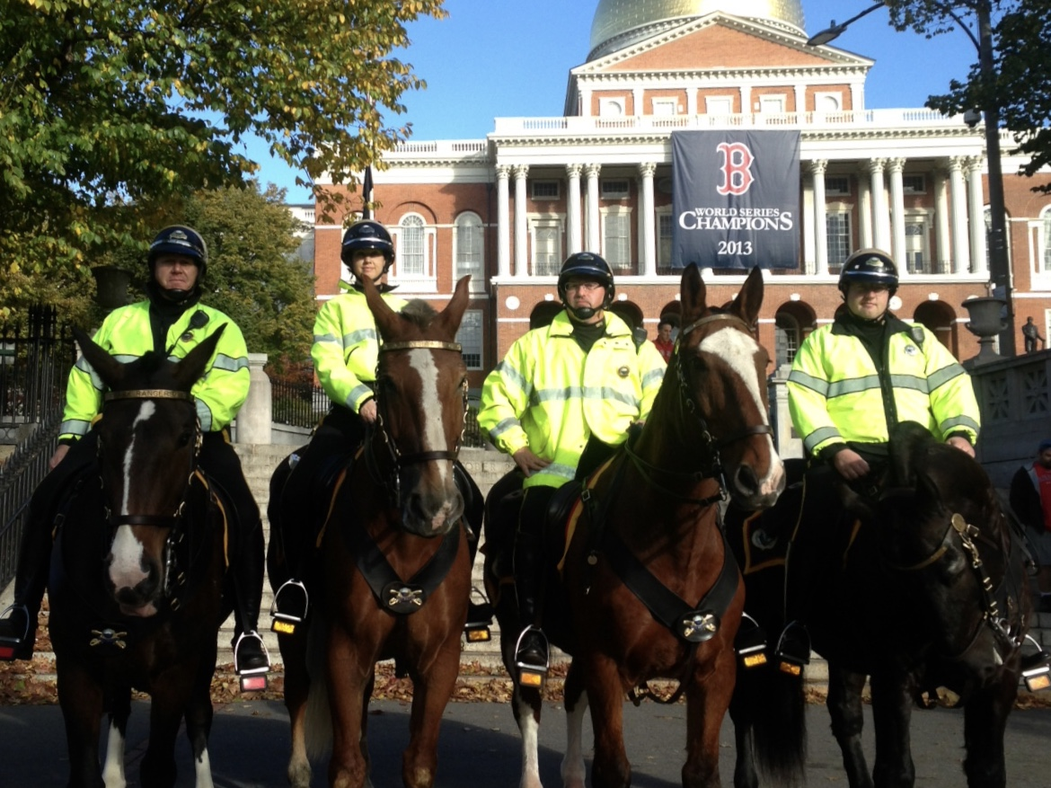 Mounted Park Rangers in front of Massachusetts State House