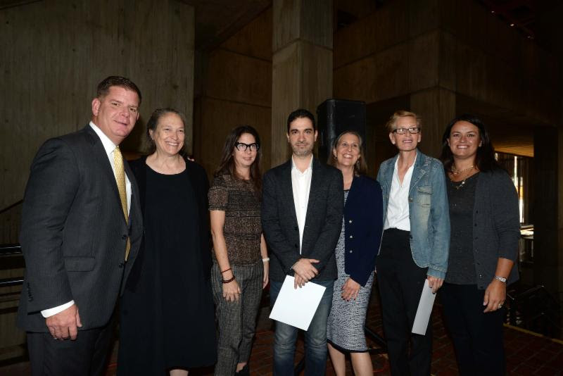 Image for from left to right: mayor walsh, marilyn arsem, michelle fornabai, dariel suarez, julie burros, mary jane doherty, councilor at large annissa essaibi george