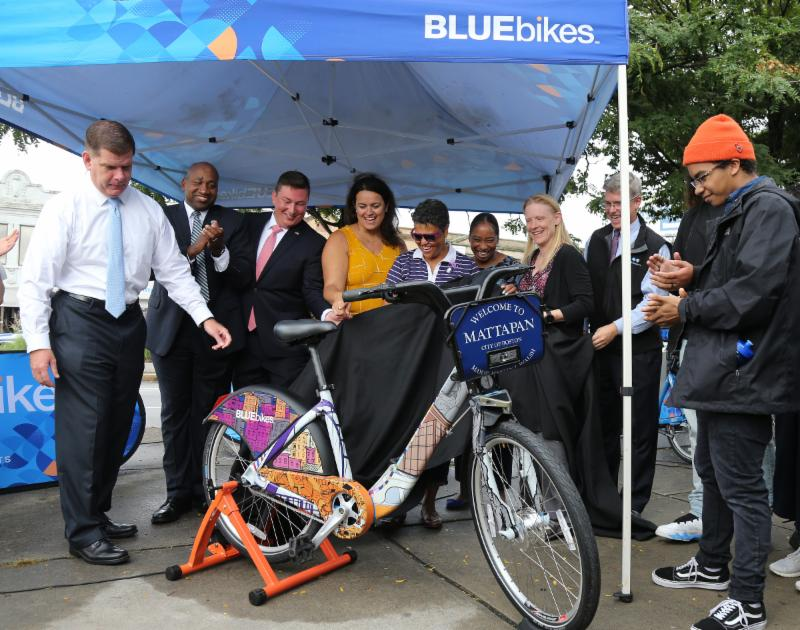 Image for mayor walsh celebrates the expansion of bluebikes into mattapan and roslindale