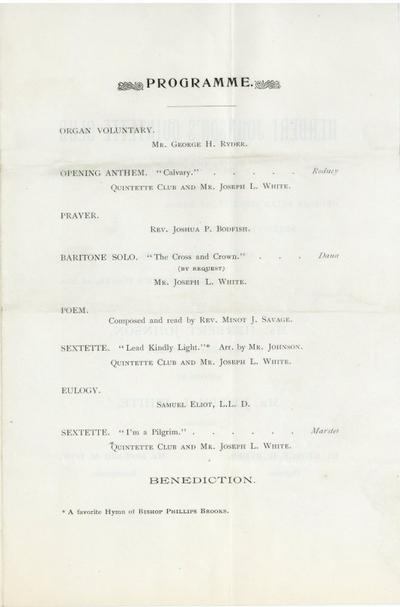 Program for Phillips Brooks Memorial Service, City Council Committee on Celebrations, Collection 0140.013