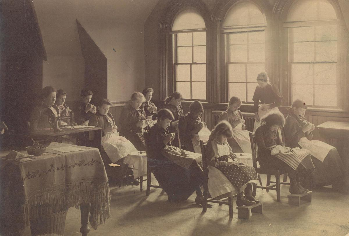 Sewing class at the Horace Mann School, 1892