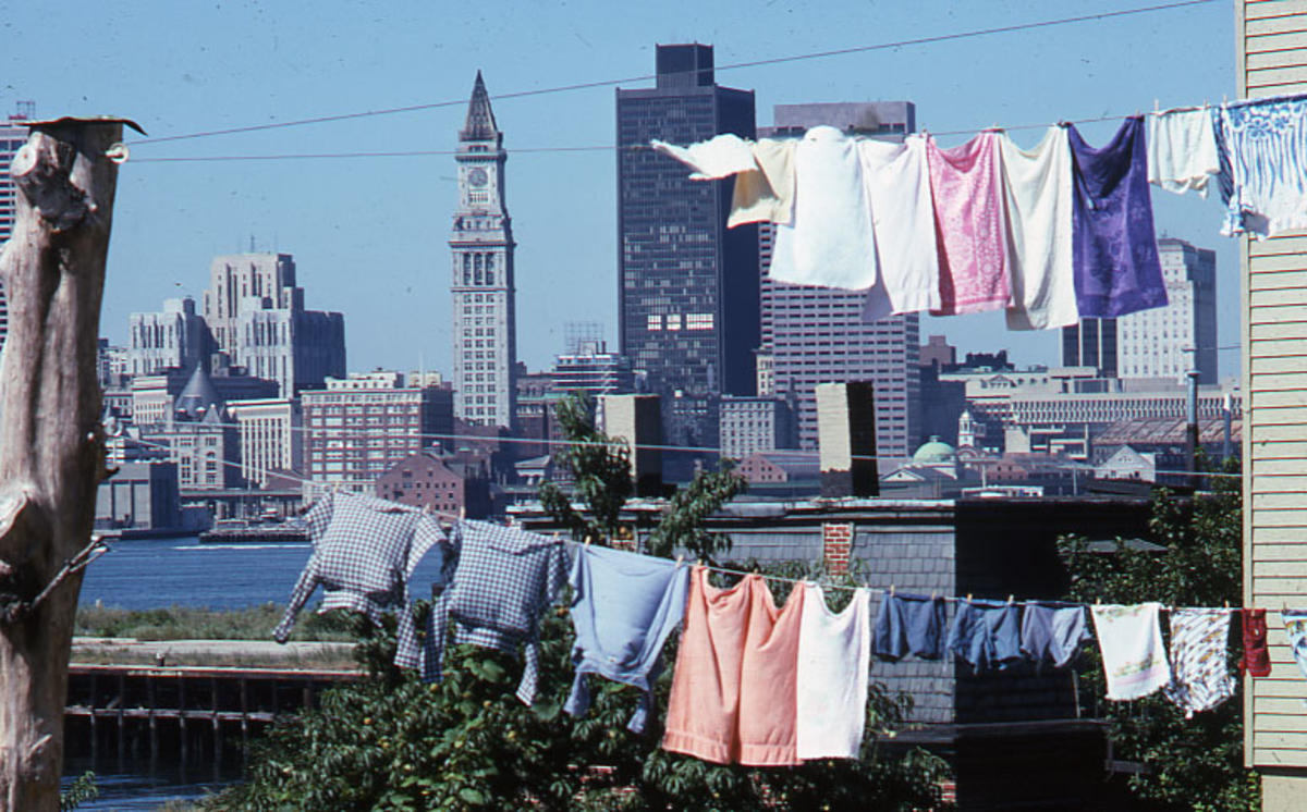 Boston skyline, from East Boston, 1975, Peter Dreyer collection, Boston City Archives