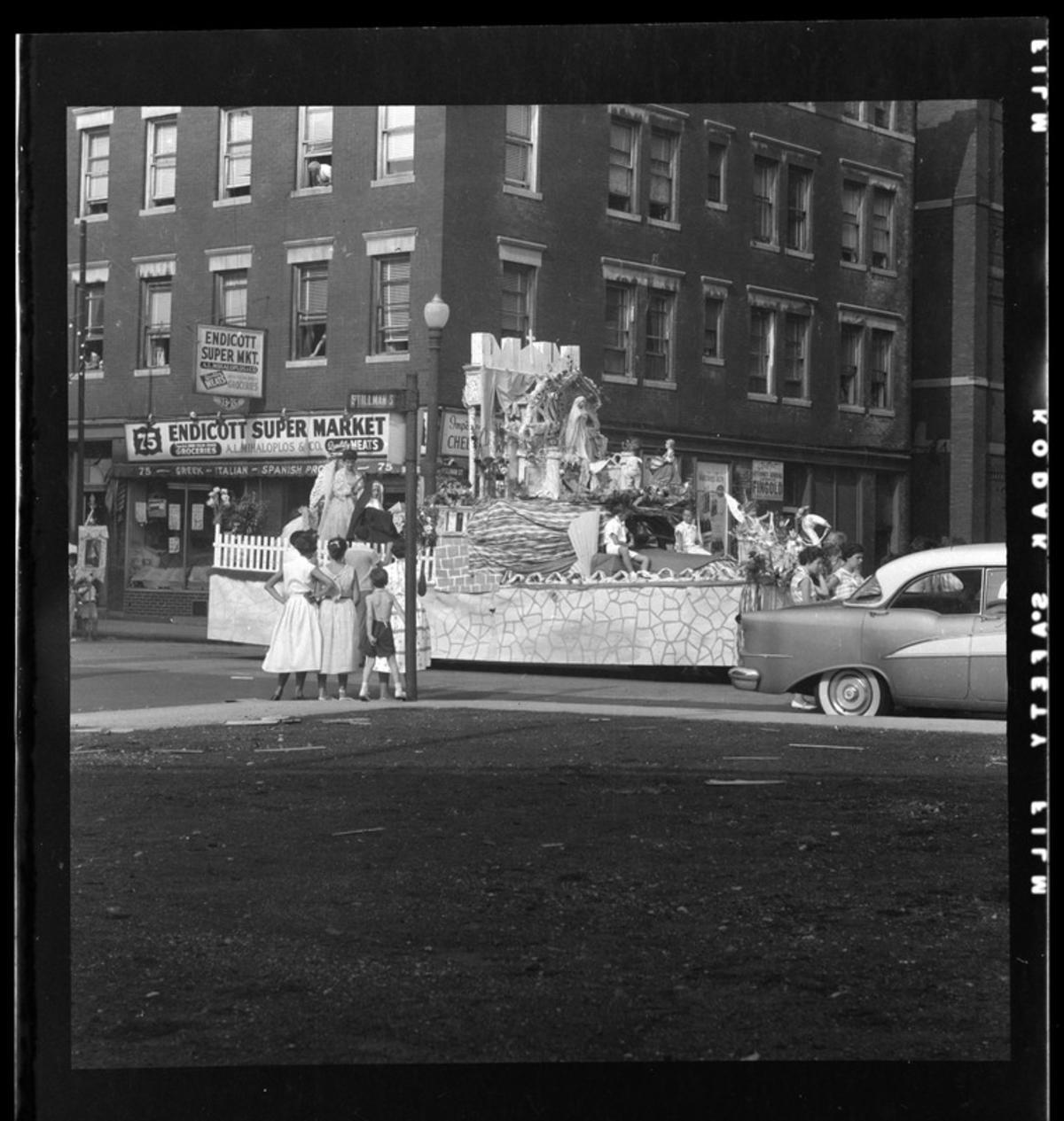 Saint Float in North End Parade, circa 1954-1956, Boston Public Library