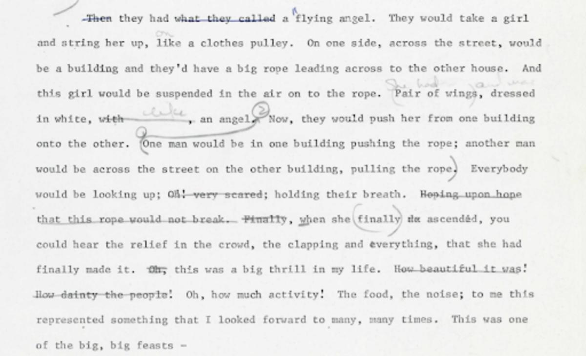 according to the Lucianis, the flying angel spectacle consisted of a girl being suspended in the air on a rope. Dressed in a pair of wings, the girl would be pushed from one building to the other, with men on both sides operating the ropes to create the imagery of a flying angel