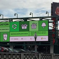 Image for a plastic bag ordinance electronic billboard near fenway park