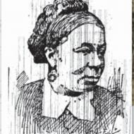 Drawing of Harriet Bell Hayden from her obituary, The Cleveland Gazette December 30 1893.