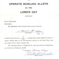 Petition to Operate Bowling Alleys on the Lord's Day, 1947, Collection 0100.001, Boston City Archives