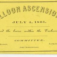 July 4 Balloon Ascension ticket, 1861, City Council Committee on Celebrations, Collection 0140.013, Boston City Archives, Boston