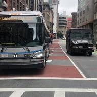 The new Washington Street bus lane