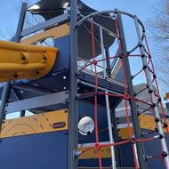 New play structures at Thetford Evans Playground provide a variety of activities for children in Mattapan.
