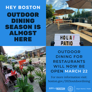 MAYOR WALSH ANNOUNCES OUTDOOR DINING WILL NOW BEGIN IN BOSTON ON MARCH 22