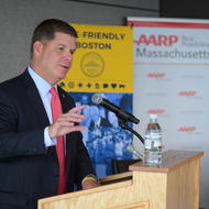 Image for mayor walsh offers remarking during an event with aarp of boston