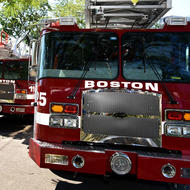Image for new boston fire department trucks on display