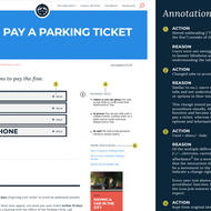 Image for a redesigned version of the parking ticket page