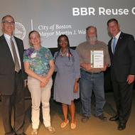 Image for members of the bbr reuse center with commissioner carl spector and mayor walsh