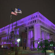 Image for city hall lit up for national recovery month