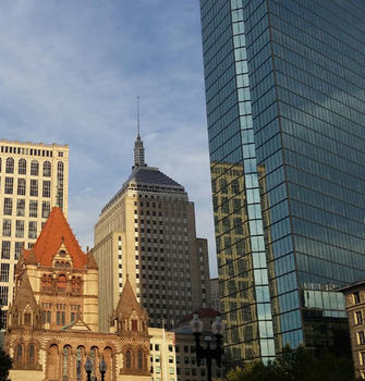 Image for a photo of copley square at sunset