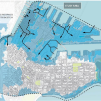 Image for probable future storm flood extents in south boston